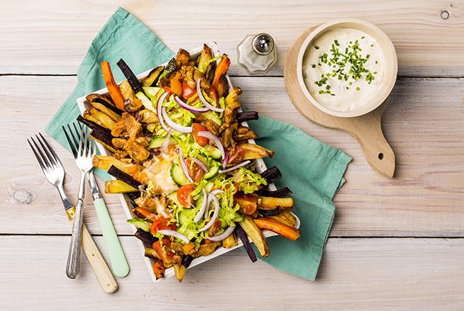 Kapsalon Groentefriet met Shoarma (vlees of vegan)
