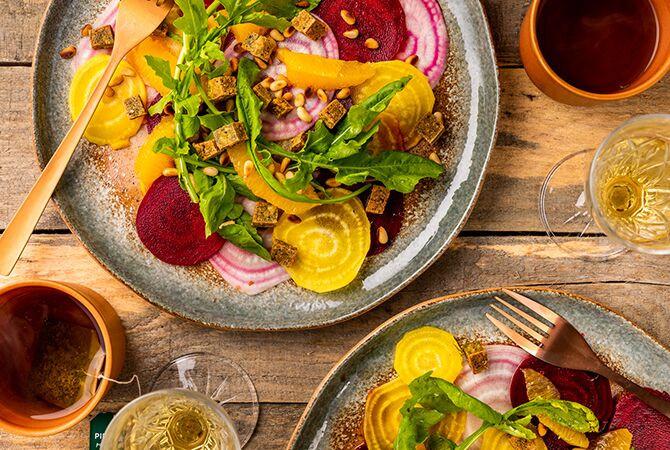 Carpaccio van Gekleurde Zomerbietjes (vegan)