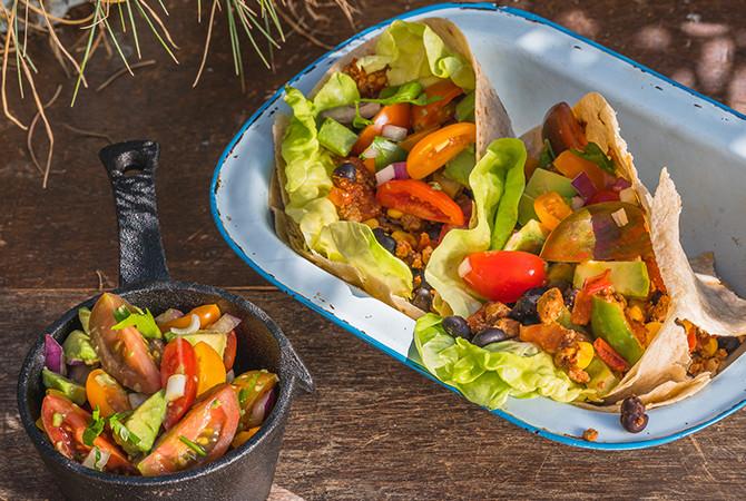 Taco's met Salsa (vegan of met gehakt)
