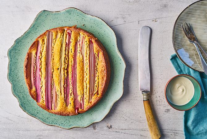 Rabarber-vlierbloesem cake